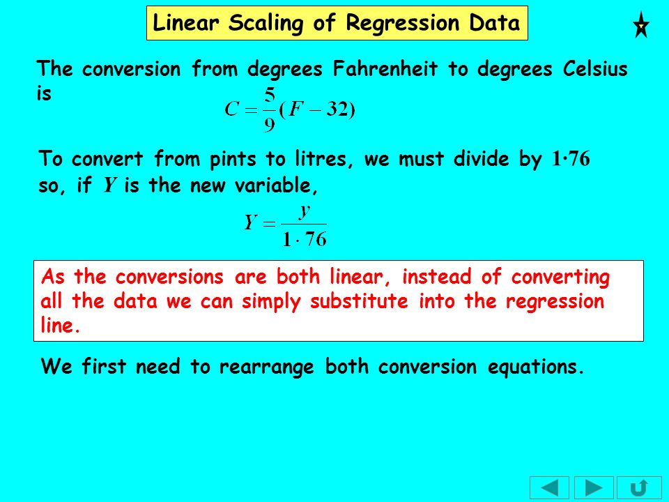 Linear Scaling of Regression Data As we have only a small amount of data, we can check the effect of the scaling by converting the data and drawing both regression lines.