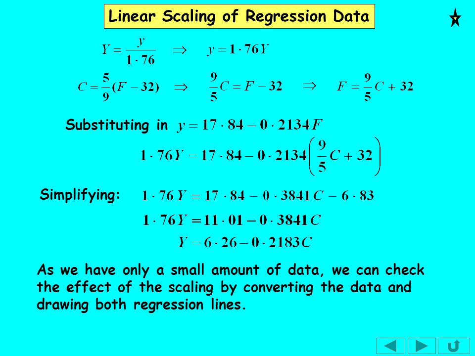 Linear Scaling of Regression Data The correlation coefficient is a measure of the spread of the data so is not altered by linear scaling.