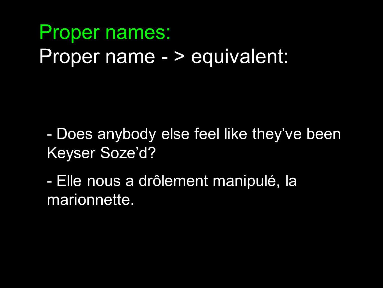 Proper names: Proper name - > different: - You look like DeBarge! - Vous êtes d'un démodé..!