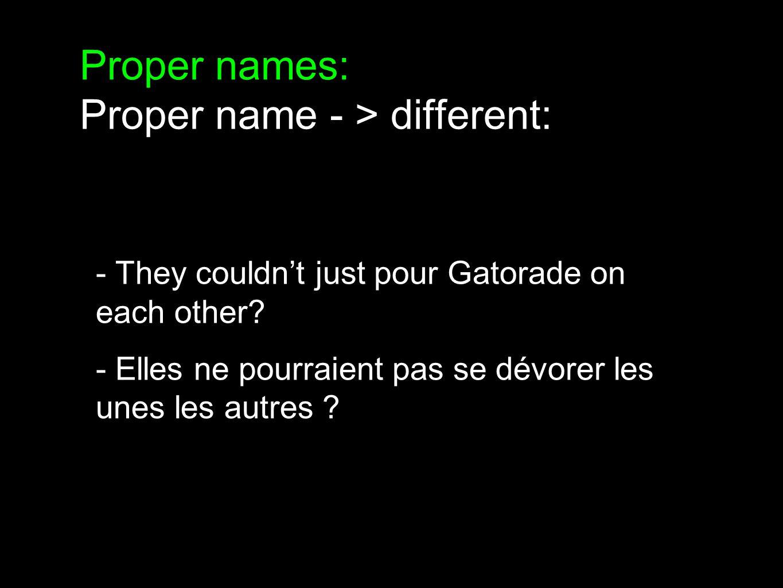 Conclusions? 11 wordplays - 3 kept 19 proper names - 1 kept (!) / 3 other proper names