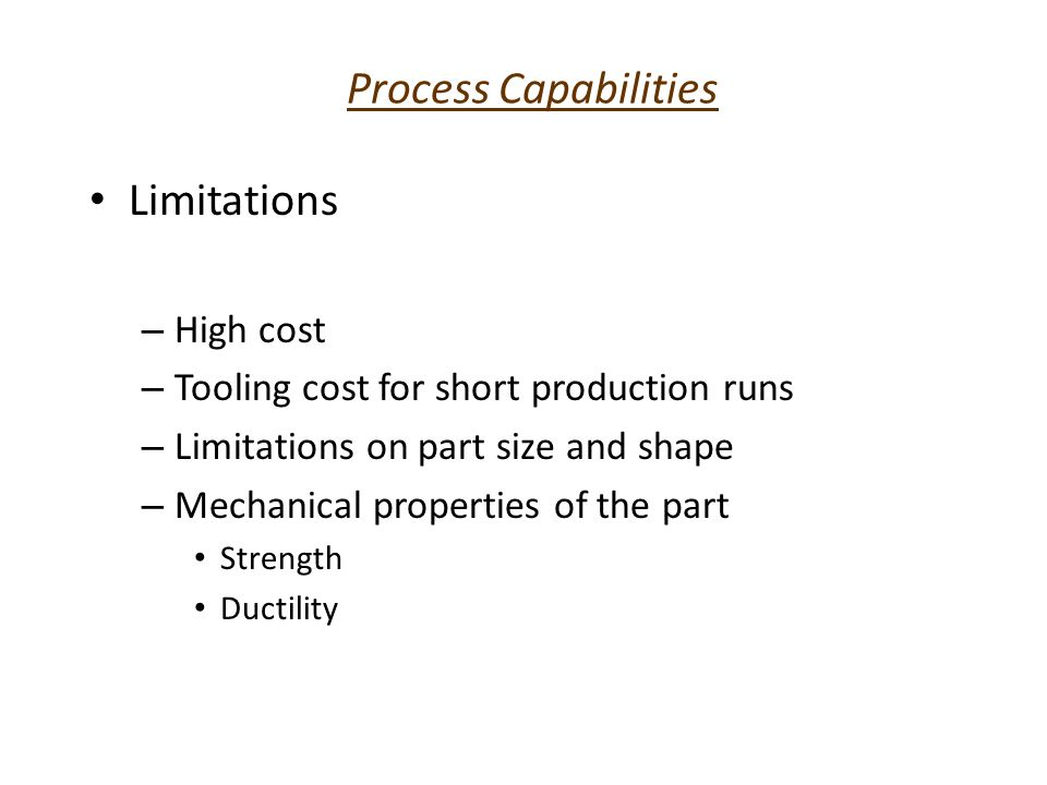 Economics of Powder Metallurgy Competitive with casting and forging High initial cost Economical for quantities over 10,000 pieces Reduces or eliminates scraps