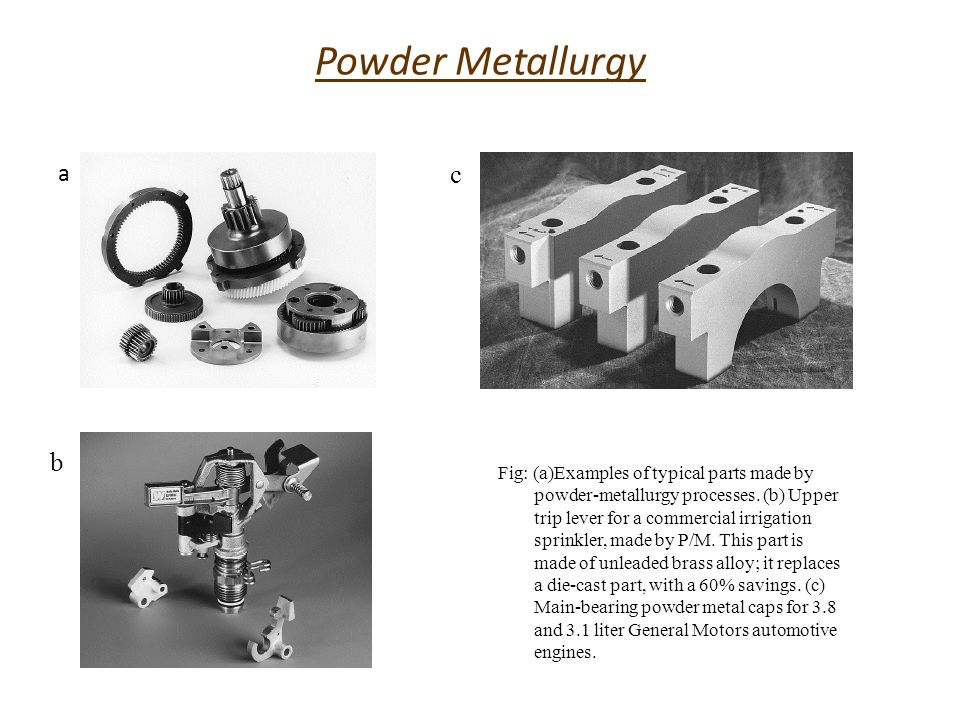 Production of Metal Powders Powder production Blending Compaction Sintering Finishing operations
