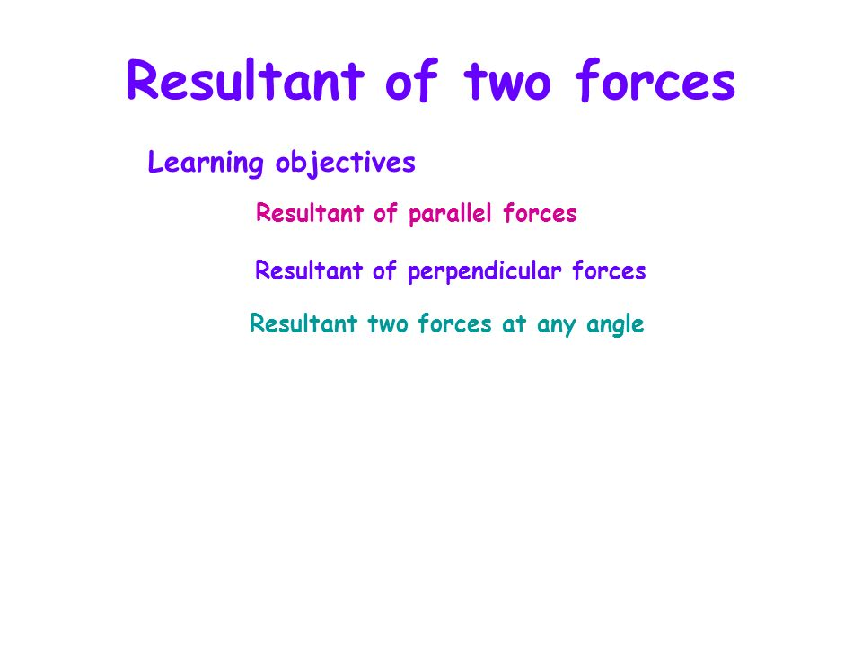 Resultant of two forces A resultant force is a single force which can replace a set of forces acting on an object.