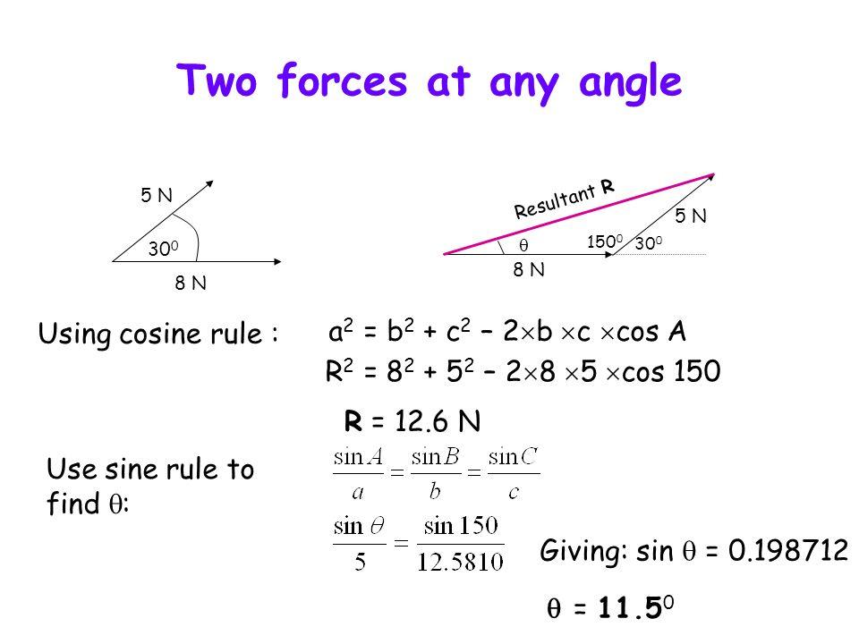 Example 15 N 130° 15 N 25 N 130° 50° Resultant Using cosine rule : a 2 = b 2 + c 2 – 2 b c cos A R 2 = 25 2 + 15 2 – 2 25 15 cos 50 R = 19.2 N Use sine rule to find : Giving: sin = 0.5991 = 36.8°