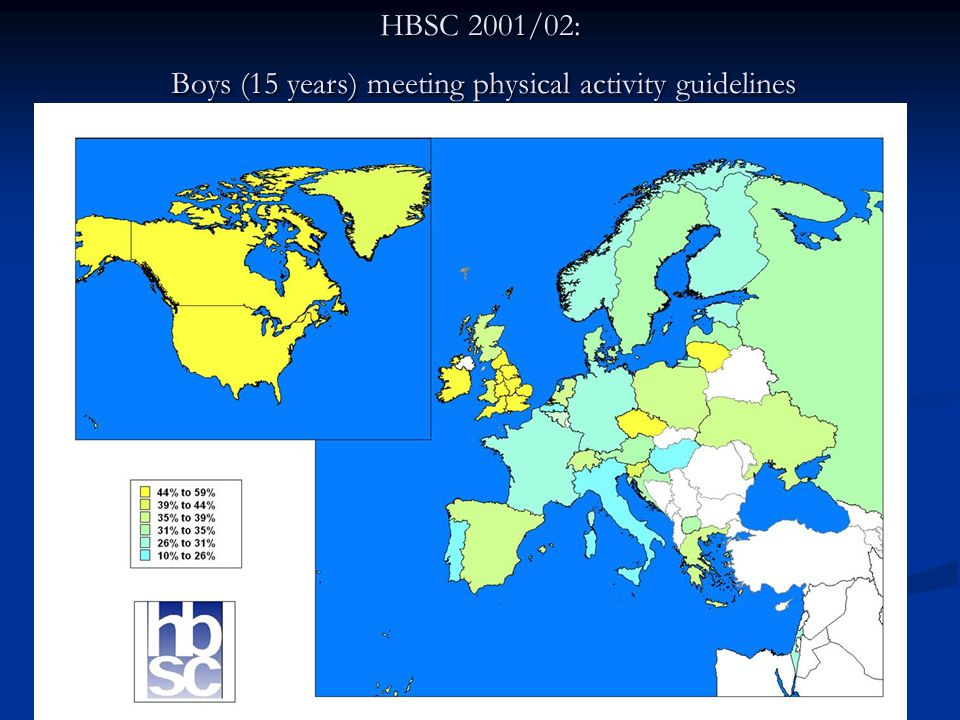 HBSC 2001/02: Girls (15 years) meeting physical activity guidelines