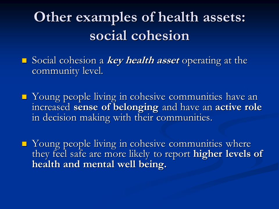Building an evidence base for young people's mental well being: an asset model.