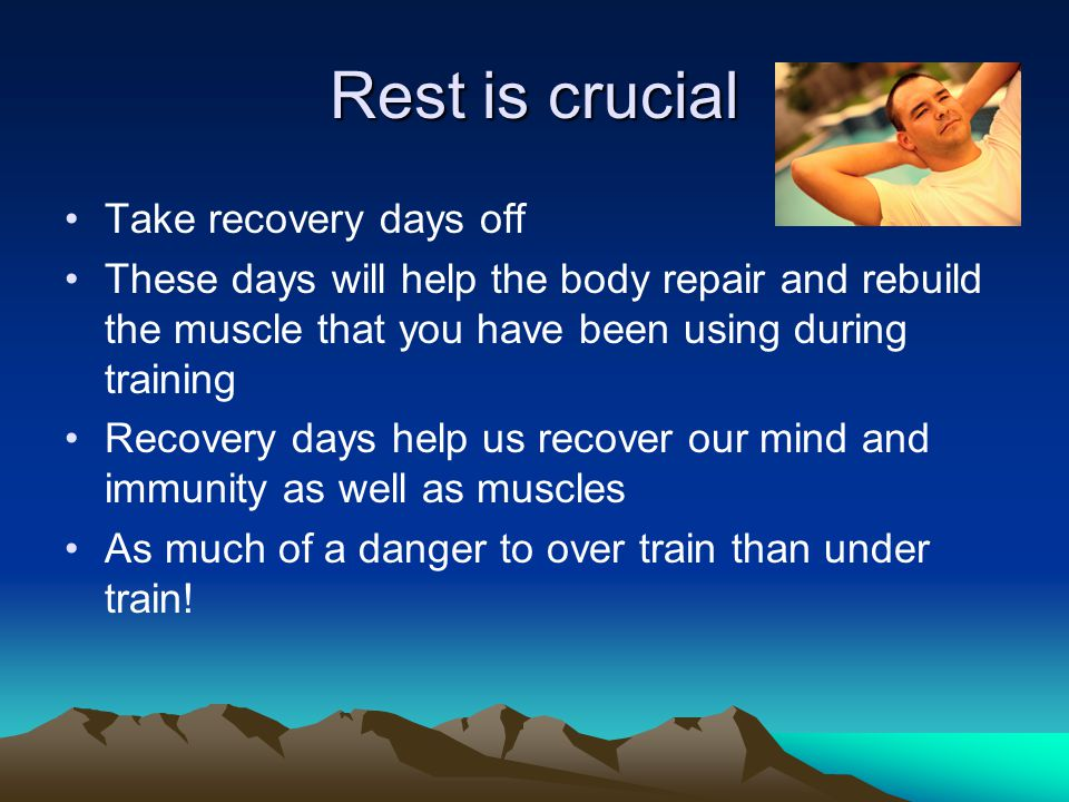 Recovery Indulge in sports massage See a physical therapist for preventative care Have acupuncture Eat well!