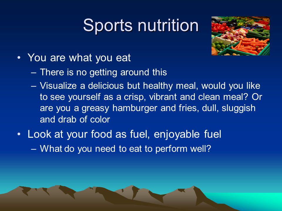 Have a solid base Have an optimal diet everyday not just race day or in specific training periods Eat a diet high in whole foods skip processed foods At every meal: A healthy carb, a good protein source, a healthy fat Hydrate throughout the day Eating well will regulate blood glucose levels and increase performance