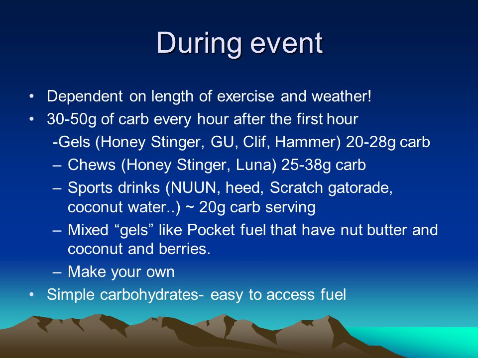 Post exercise Within ½ hour of event try and get a small amount of carb and protein Within 2 hours after event eat a meal Complex carbs and protein and healthy fats for recovery.