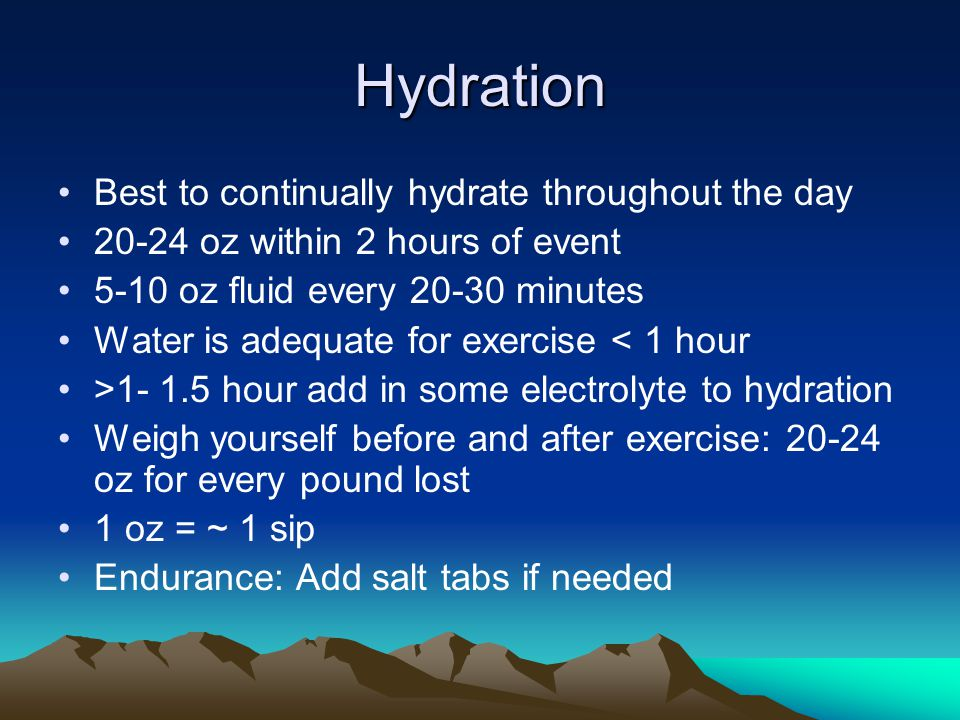 Dehydration Dark urine Small volume of urine Elevated heart rate Headache ** Drink before your thirsty!