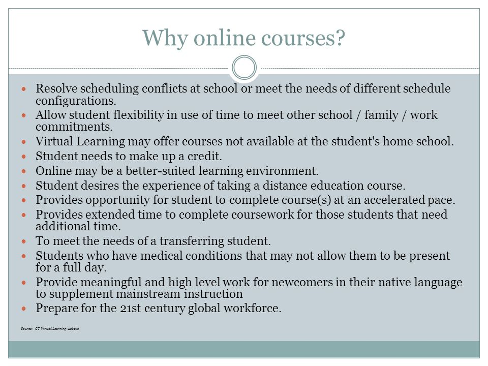 Expanded uses of online learning Credit recovery Alternative programming Summer school option Differentiated learning  Enrichment  Acceleration  Expansion of program of studies