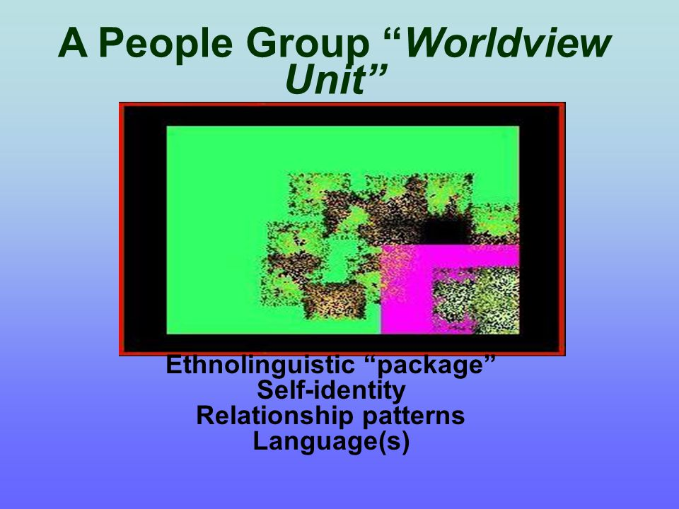 Smaller groupings within the same ethnic entity Geographic – Ethno-geography; country borders; rural~urban Segments People Group (Ethnic) Segment