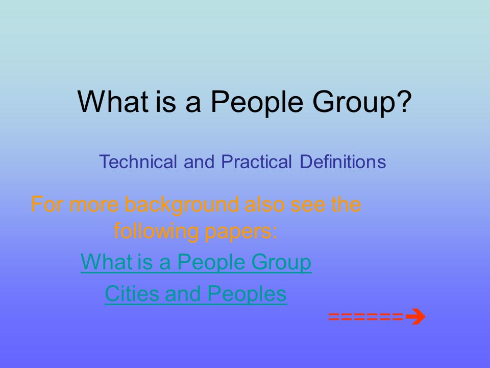 Each discernible box = ONE People Group one worldview unit Note how they overlap and share features (colors) A People Group Worldview Unit
