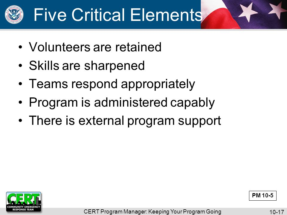 CERT Program Manager: Keeping Your Program Going 10-18 Program Maintenance Matrix Exercise PM 10-6