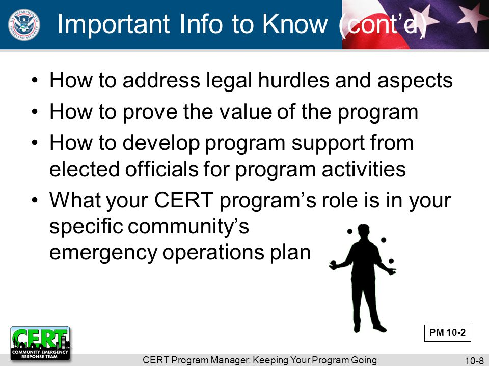 CERT Program Manager: Keeping Your Program Going 10-9 Requirements Vary Vary by community Vary by region PM 10-3