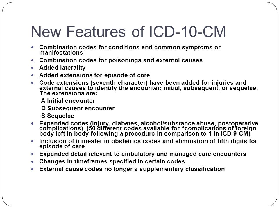 ICD-10-CM Code Format-Exclude Notes Excludes 1 notes : designate codes that can never be used together because the two conditions represented by the codes would never occur together.