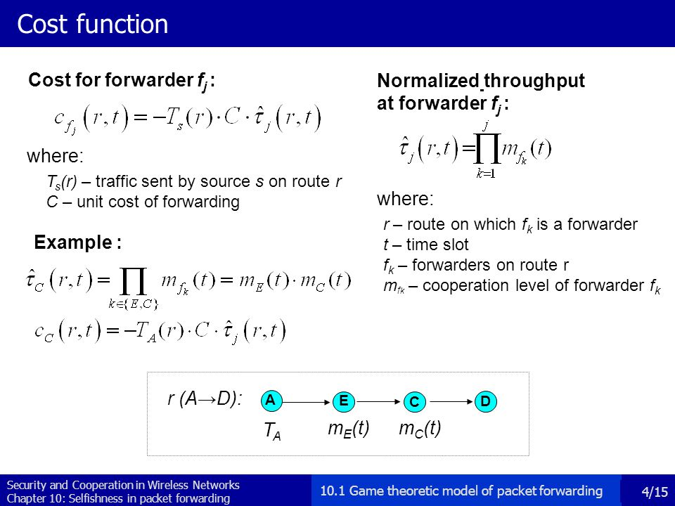 Security and Cooperation in Wireless Networks Chapter 10: Selfishness in packet forwarding 5/15 Benefit function where: s – source r – route on which s is a source t – time slot f k – forwarders for s p f k – cooperation level of forwarder f k Experienced throughput : A E C D TATA m E (t) m C (t) r (A→D): Example : benefit function : 10.1 Game theoretic model of packet forwarding bSbS