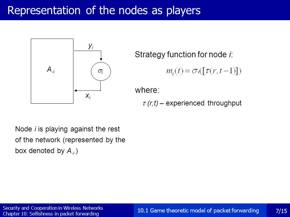 Security and Cooperation in Wireless Networks Chapter 10: Selfishness in packet forwarding 8/15 Examples of strategies Strategy Function Initial cooperation level AllD (always defect) AllC (always cooperate) TFT (Tit-For-Tat) 0 1 1  non-reactive strategies: the output of the strategy function is independent of the input (example: AllD and AllC)  reactive strategies: the output of the strategy function depends on the input (example: TFT) where y i stands for the input 10.1 Game theoretic model of packet forwarding