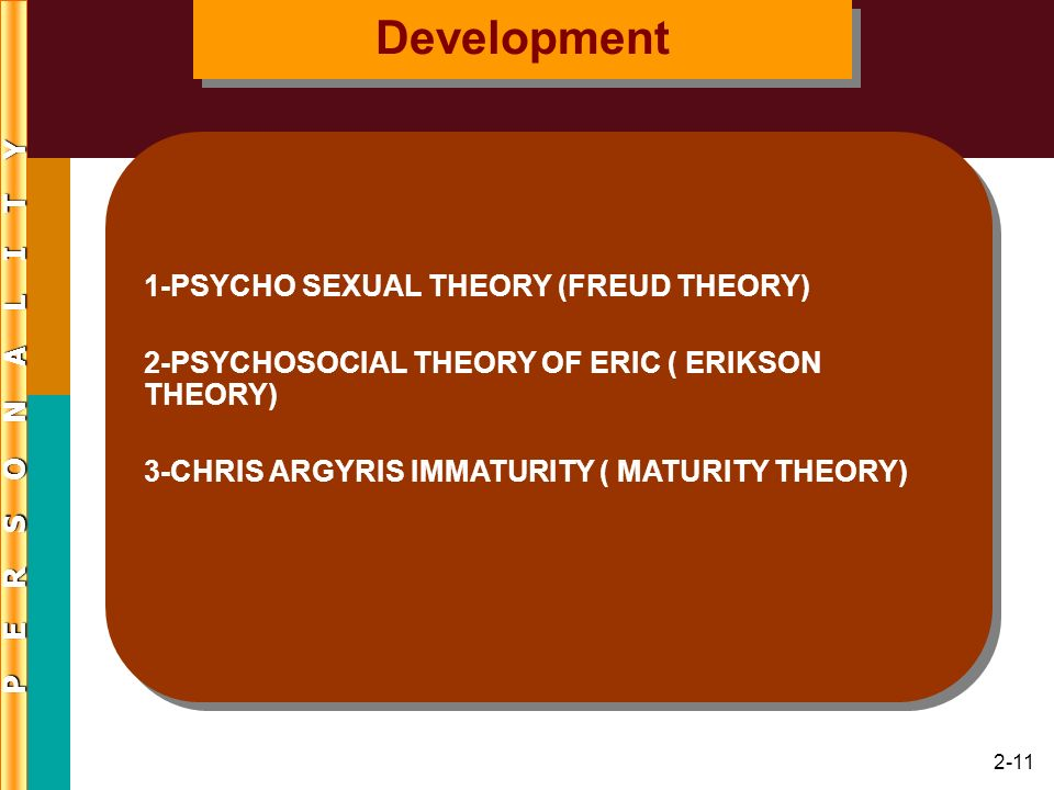 2-12 Psychoanalytic Theory Freuds theory and views –Original interest in conversion disorder –Three levels of consciousness Mind is iceberg; conscious, preconscious, and unconscious mind are levels Repression (Domination) pushes thoughts into unconscious Personality Theories and Assessment