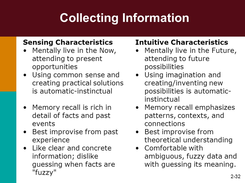 2-33 Decision Making Thinking Characteristics Instinctively search for facts and logic in a decision situation.