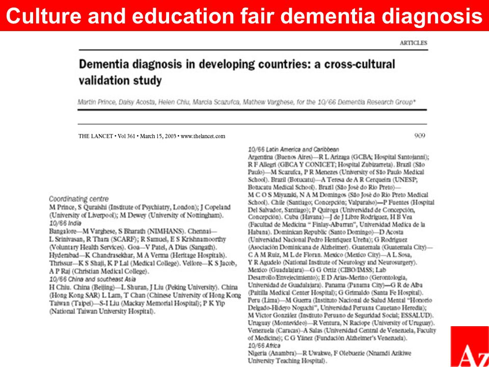  In Cuba, all participants were interviewed by polyclinic psychiatrists and physicians  Survey DSM-IV algorithm and the 10/66 dementia diagnoses were validated against local clinician diagnosis RESULTS Agreement with the clinician diagnosis was better for 10/66 dementia than for the DSM-IV computerized algorithm DSM-IV had low sensitivity, particularly for mild to moderate cases Clinically relevant dementia may be prevalent beyond the confines of the narrowly defined DSM-IV criteria 10/66 DSM-IV Kappa0.79 (0.74-0.83)0.63 (0.56-0.69) Sensitivity93.2%57.8% Specificity96.8%98.3% Cuban 10/66 algorithm validation study results Prince et al.