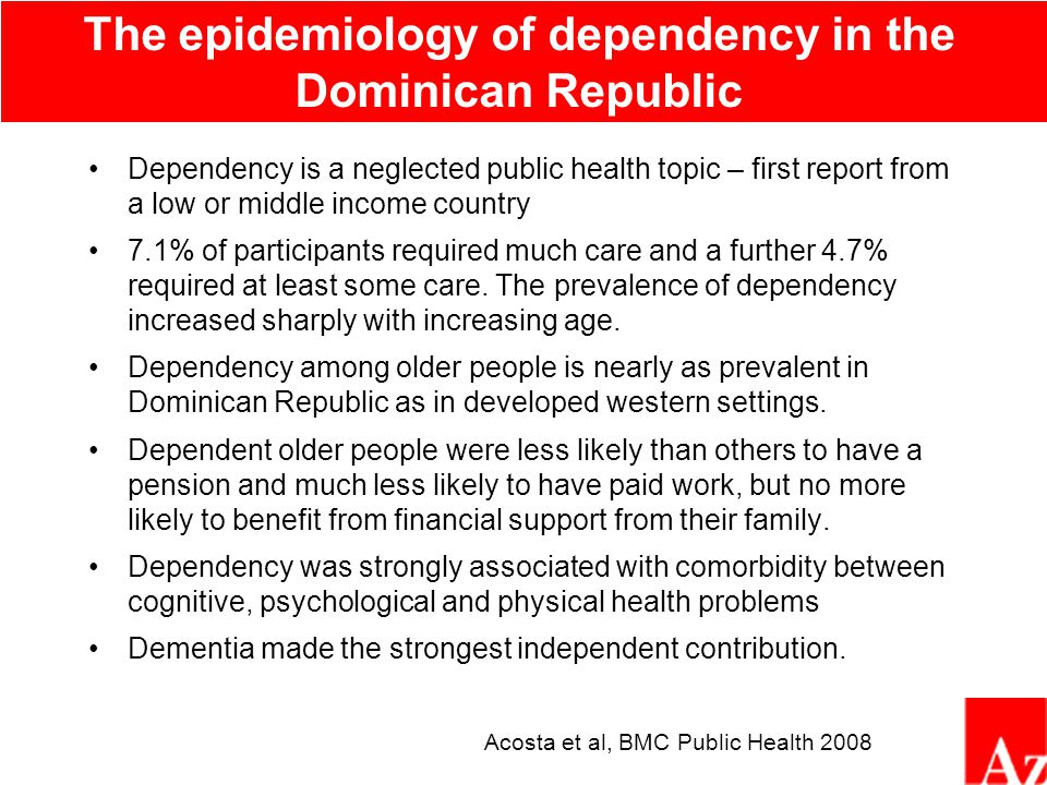 The independent impact of dementia, across centres, on dependency (needs for care) 1 4.5 10 20