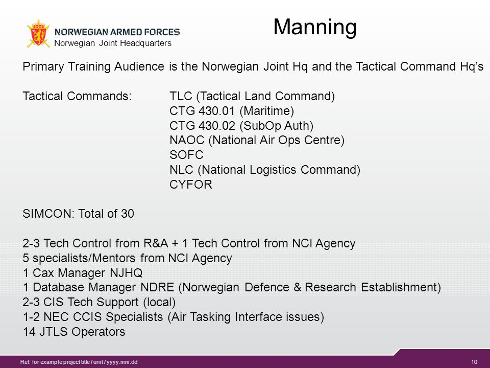11 Norwegian Joint Headquarters Ref: for example project title / unit / yyyy.mm.dd Ambitions 2014 – 20xx Database development for several exercises, Table Tops Educate/enable CAX org.