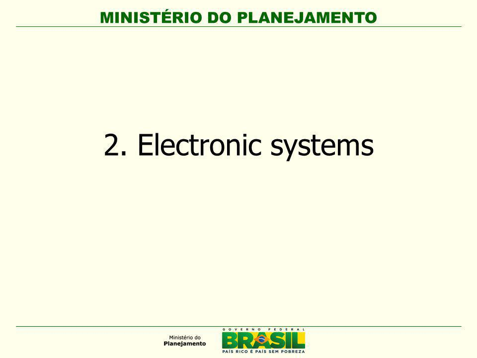 MINISTÉRIO DO PLANEJAMENTO Fonte: www.comprasnet.gov.br The website comprasnet.gov.br: Allows approximately 300 sessions per day, with peaks of 580 (in December); Has about 14,500 simultaneous users, with peaks of 20,000 in December; Registers an average of 40,000 hits per day; Has over 10,000 registered procurement officers; Contains over 4,500 purchase units.