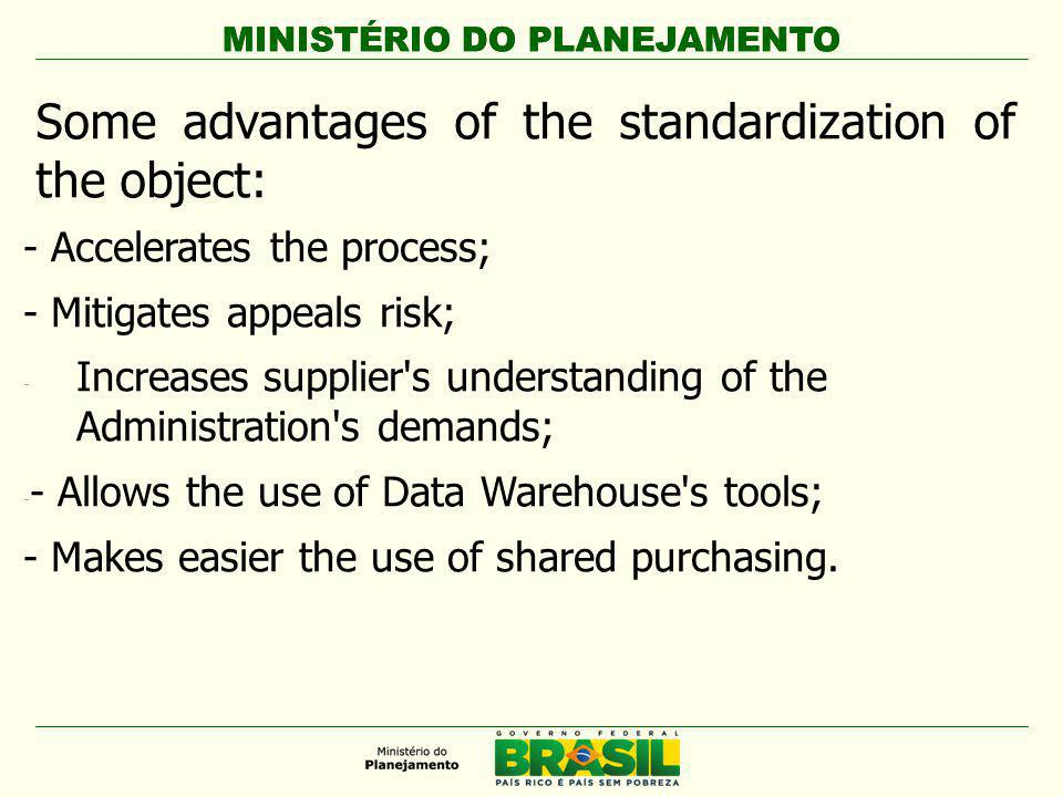MINISTÉRIO DO PLANEJAMENTO Life cycles costs Life cycle costs are the ones the products causes to the purchasing unit during its useful life: Acquisition  Purchase  Delivery  Instalation… Functioning  Water, energy consumption, etc  Maintenance  Replacement, etc Final managing  Unsembling, withdrawing  Treatment costs Sales revenue