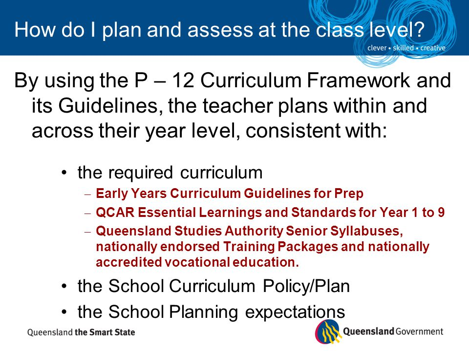 by taking into account: – knowledge about learners – individual needs of learners – learners' achievement data – learners' input – school improvement priorities and targets – A-E reporting policy How do I plan and assess at the class level?