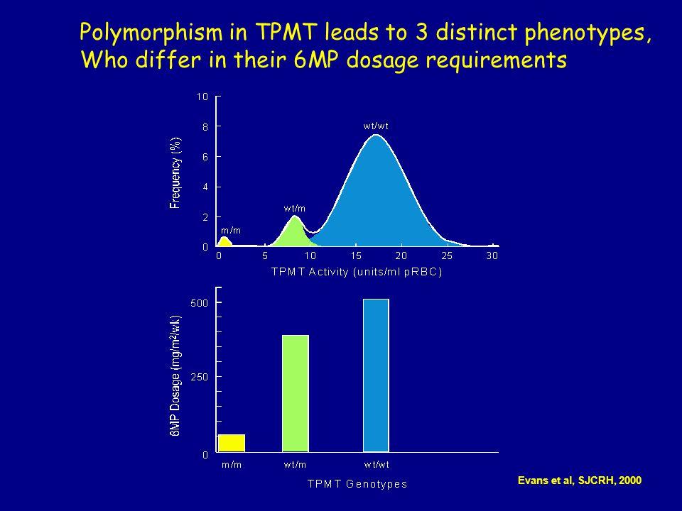 Cumulative incidence (CI) of Dosage Decrease based on Genotype Relling et al JNCI, 1999