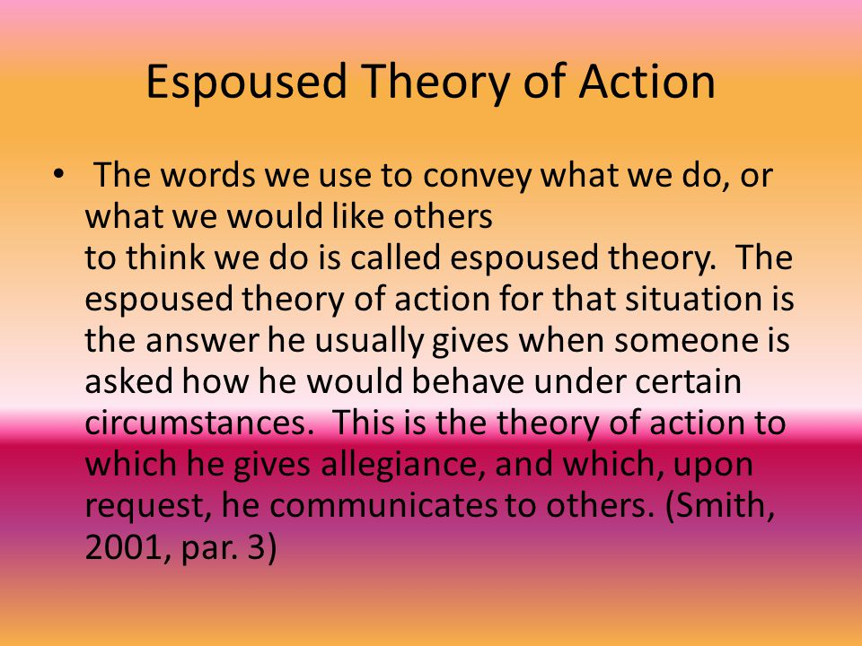 Theory-in-Use The theory that actually governs his actions is his theory-in-use.