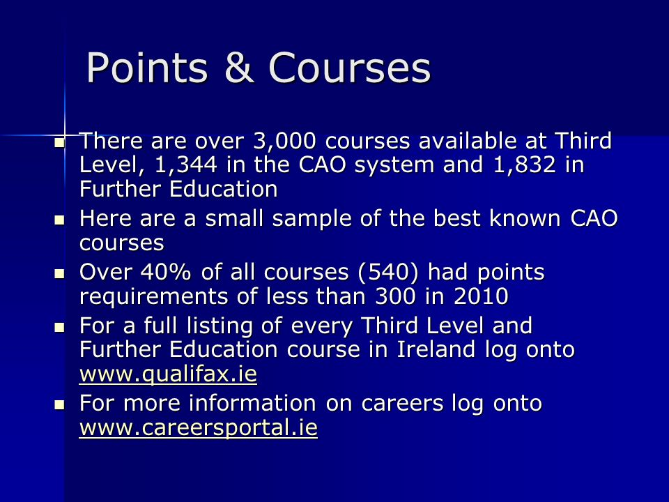 Sample Points & Courses 2009 CourseCourse ProviderQualificationPoints