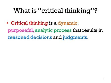 "What is ""critical thinking""?"