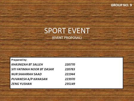 SPORT EVENT (EVENT PROPOSAL)