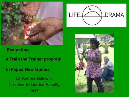 Dr Andrea Baldwin Creative Industries Faculty QUT Evaluating a Train the Trainer program in Papua New Guinea.