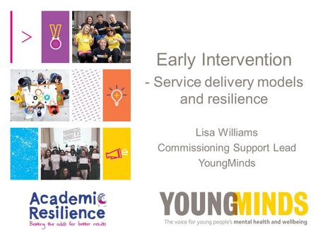Early Intervention - Service delivery models and resilience Lisa Williams Commissioning Support Lead YoungMinds.