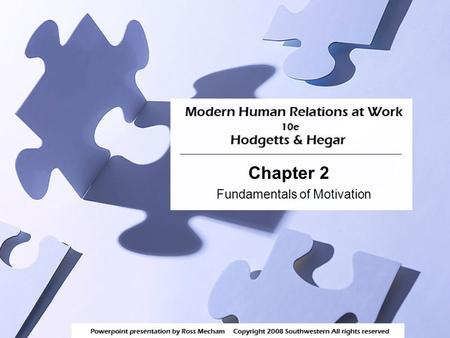 Chapter 2 Fundamentals of Motivation. 2 Learning Objectives 1)Describe the two sides of motivation: movement and motive. 2)Identify the five basic needs.