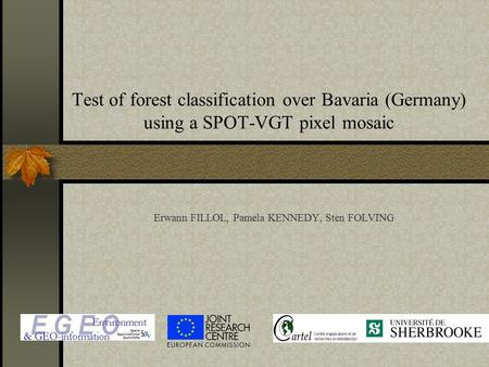 Test of forest classification over Bavaria (Germany) using a SPOT-VGT pixel mosaic Erwann FILLOL, Pamela KENNEDY, Sten FOLVING.
