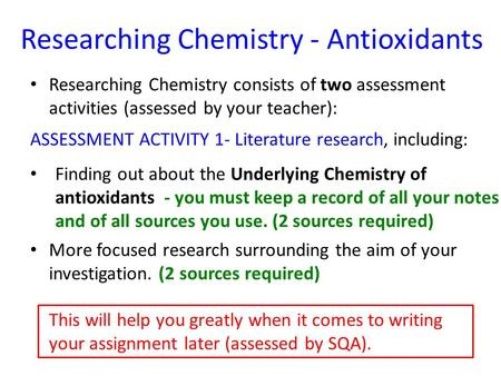 Researching Chemistry - Antioxidants Researching Chemistry consists of two assessment activities (assessed by your teacher): This will help you greatly.