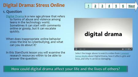 Digital Drama Digital Drama is a new age phrase that refers to forms of abuse and violence among teens in the technology world. Sometimes it can start.