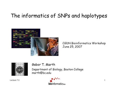 Lecture 7.01 The informatics of SNPs and haplotypes Gabor T. Marth Department of Biology, Boston College CGDN Bioinformatics Workshop June.