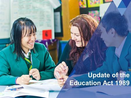 Update of the Education Act 1989. education.govt.nz Overview of presentation 2 This slideshow covers: The Education Act 1989 and why it needs to be updated.
