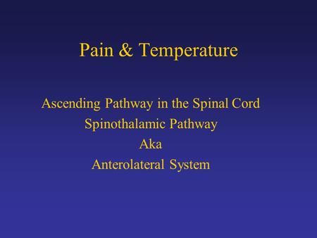 Pain & Temperature Ascending Pathway in the Spinal Cord Spinothalamic Pathway Aka Anterolateral System.