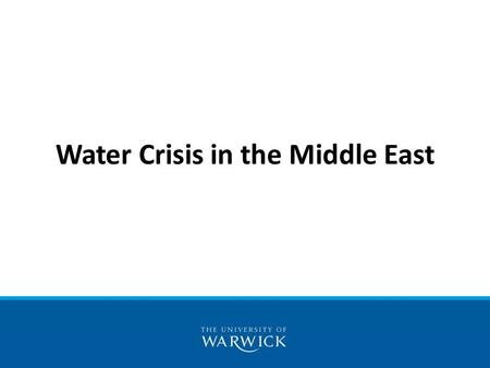 Water Crisis in the Middle East