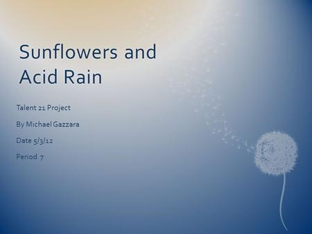 Sunflowers and Acid Rain Talent 21 Project By Michael Gazzara Date 5/3/12 Period 7.