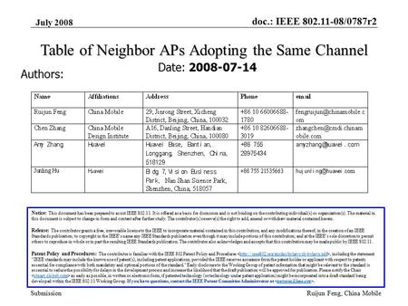 Doc.: IEEE 802.11-08/0787r2 Submission July 2008 Ruijun Feng, China Mobile Table of Neighbor APs Adopting the Same Channel Date: 2008-07-14 Authors: Notice: