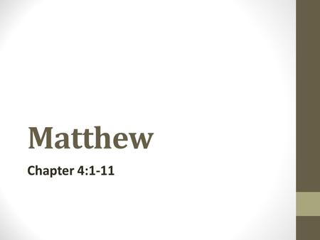 Matthew Chapter 4:1-11. Watch out After every great victory there comes the greatest trial. Temptation is common to all of us, victory is not so common.