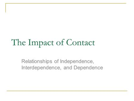 The Impact of Contact Relationships of Independence, Interdependence, and Dependence.