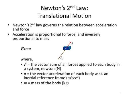 Newton's 2 nd Law: Translational Motion Newton's 2 nd law governs the relation between acceleration and force Acceleration is proportional to force, and.